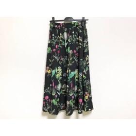 【中古】 ルルウィルビー ロングスカート サイズ1 S レディース 美品 黒 グリーン ピンク 花柄