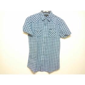 【中古】 ディーゼル DIESEL 半袖シャツ サイズS メンズ ブルー 白 マルチ チェック柄