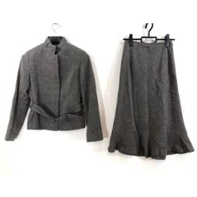 【中古】 エフデ ef-de スカートスーツ サイズ9 M レディース ダークブラウン ベージュ ツイード/フリル
