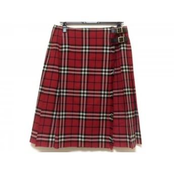 【中古】 バーバリーロンドン 巻きスカート サイズ13 L レディース レッド 黒 白 チェック柄/プリーツ