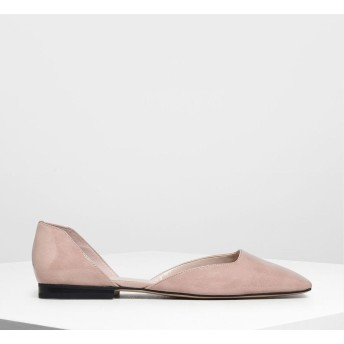 スクエアトゥ ドルセイフラット / Square Toe D'Orsay Flats (Nude)