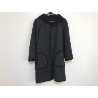 【中古】 ランバンオンブルー コート サイズ38 M レディース 黒 ダークグレー リバーシブル/冬物/ニット
