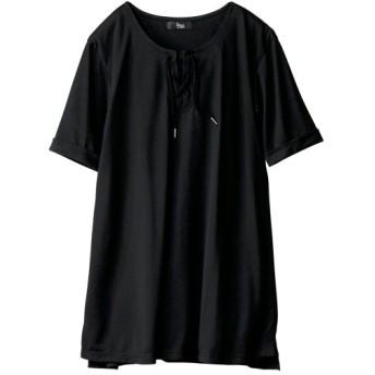 DRY MIX(吸汗速乾。UVカット。涼感。毛玉防止)5分袖レースアップデザインチュニック (大きいサイズレディース)チュニック,plus size