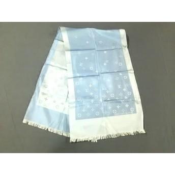 【中古】 ルイヴィトン スカーフ モノグラム エシャルプ・カプリ - ブルー ライトブルー シルク100%