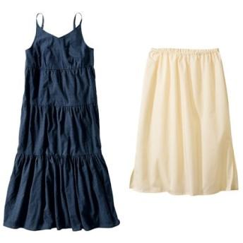 ドビードットティアードロングワンピース(ペチコート付) (大きいサイズレディース)ワンピース, plus size dress, 衣裙, 連衣裙