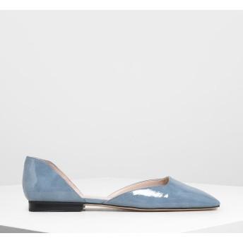 スクエアトゥ ドルセイフラット / Square Toe D'Orsay Flats (Light Blue)