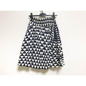 【中古】 プラダ PRADA スカート サイズ38s レディース 美品 ダークネイビー 白 黒 2014年