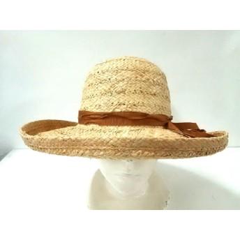 【中古】 カシラ CA4LA 帽子 アイボリー ブラウン HOLIDAY ストロー