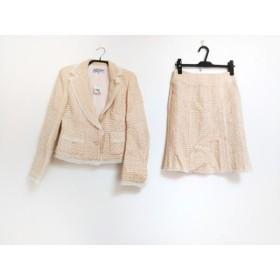【中古】 ヴァンドゥ オクトーブル スカートスーツ サイズ38 M レディース 美品 ベージュ アイボリー