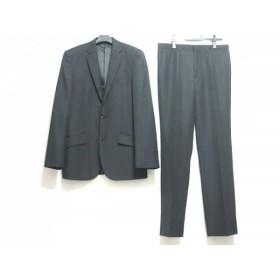 【中古】 コムサイズム COMME CA ISM シングルスーツ サイズS メンズ 黒 肩パッド