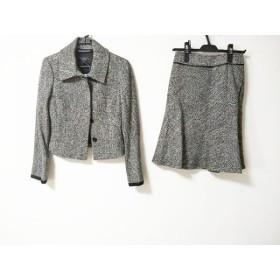 【中古】 マテリア MATERIA スカートスーツ サイズ38 M レディース ダークグレー 白 ツイード/ラメ