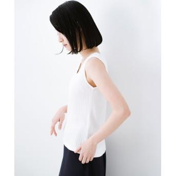 ハコ シンプル イズ ベスト! 毎日使えるリブタンクトップ レディース ホワイト LL 【haco!】