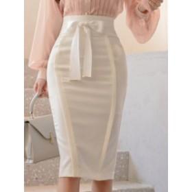無地 リボン付き チャーミング スリム 女性 エレガント 美シルエット スカート