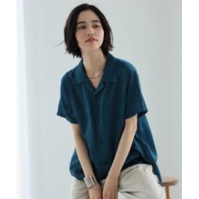 BEAMS BOY / ポリエステルコットン サテン オープンカラー シャツ レディース カジュアルシャツ BLUE GREEN ONE SIZE