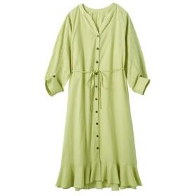綿100%袖刺しゅうロング丈ワンピース ペチスカート付