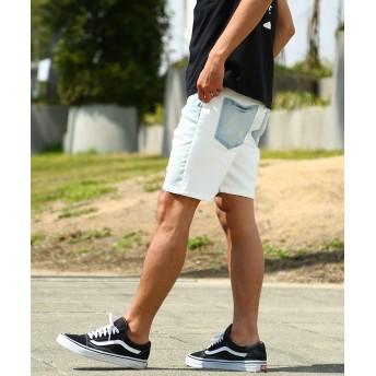 ハーフパンツ - improves スウェット 切替 デニム ショートパンツ メンズ 膝上 ハーフパンツ ショーツ 短パン ストレッチ スキニー デニムパンツ ジーンズジーパン スエット インディゴ サーフ系 アメカジ 韓国ファッション メンズファッション インプローブス imp