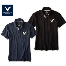 《Qoo10限定価格》アメリカンイーグル ポロシャツ ビッグロゴ 半袖 メンズ AE American Eagle ae1705 ネイビー ブラック