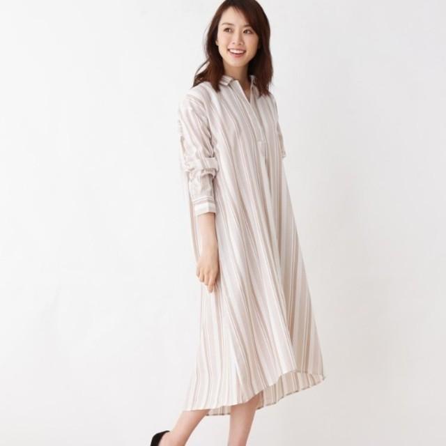[マルイ]【セール】防シワ・Aラインシャツワンピース/ピンクアドベ(pink adobe)
