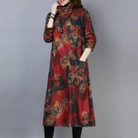 プリント ハイネック ゆったり ファッション チャーミング 選べる3色 カジュアル 森ガール ワンピース