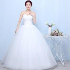 ウェディングドレス Aラインドレス お花嫁ドレス 編み上げ ベール グローブ パニエ 4点セット