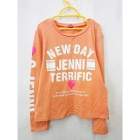 【中古】jenni ジェニイ カットソー Tシャツ 長袖 丸首 ロゴ ハート プリント オレンジ 白 ピンク 150