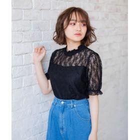レトロガール ハイネックレースTee レディース ブラック M 【RETRO GIRL】
