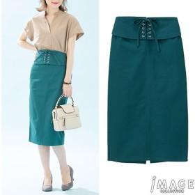 30%OFF【レディース】 ウエストレースアップタイトスカート ■カラー:グリーン ■サイズ:M,S