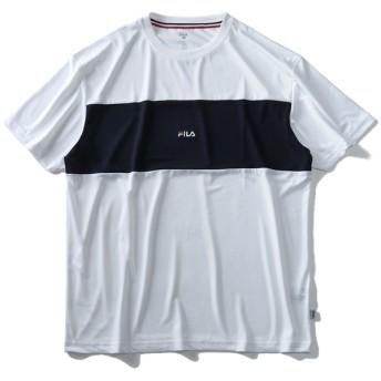 Tシャツ - 大きいサイズの店ビッグエムワン 大きいサイズ メンズ FILA フィラ 切替 半袖 Tシャツ 春夏新作 fm4851