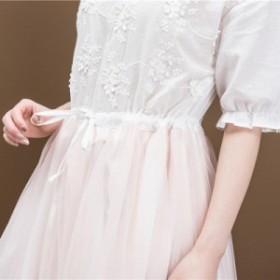 レディース 刺繍ドレス メッシュスカート 五分袖
