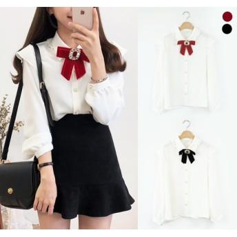 韓国ファッション ブラウス シャツ レディース リボン ガーリー ビジュー オルチャン