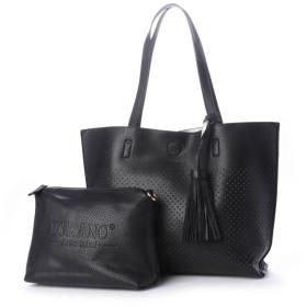 フィラノ FIRANO 【2点SET】タッセル付きパンチングトートバッグ(ショルダーバッグ付) (BLACK)
