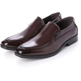 ジーノ Zeeno ビジネスシューズ メンズ 幅広 3EEE 防滑 スリッポン Uチップ モカシン 紳士靴 大きいサイズ対応 キングサイズ (ダークブラウン)