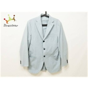 カンタレリ Cantarelli ジャケット サイズ46 XL メンズ 美品 ブルー チェック柄/ネーム刺繍  値下げ 20191007
