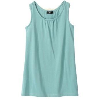 ノースリーブ後レーストップス (大きいサイズレディース)Tシャツ・カットソー