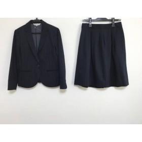【中古】 クミキョク 組曲 KUMIKYOKU スカートスーツ サイズ2 M レディース ダークネイビー ストライプ