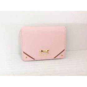 【中古】 サマンサタバサプチチョイス 2つ折り財布 ピンク ダークブラウン リボン 合皮