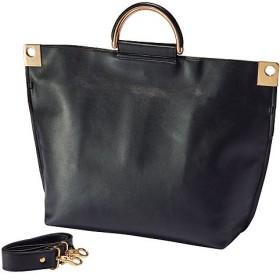 40%OFFメタルハンドルトートバッグ - セシール ■カラー:ブラック