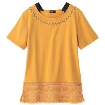 重ね着風カットソートップス (大きいサイズレディース)Tシャツ・カットソー