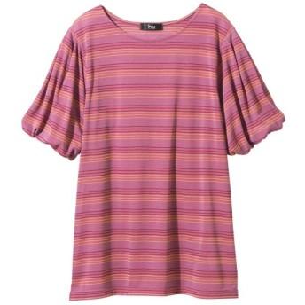5分袖ボーダーバルーンスリーブトップス (大きいサイズレディース)Tシャツ・カットソー