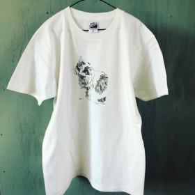 ボールペン画をそのまま「長毛種の猫」Tシャツ