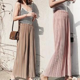 【 ウエストゴム ♪\#ハイウエストSUMMERワイドパンツ/ 】 韓国ファッション『女っぽさ×動きやすさ 』★夏まで使える プリーツパンツ[7色]/大きいサイズ