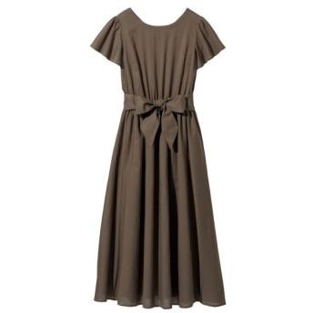 ウエストリボンフレアロングワンピース (大きいサイズレディース)ワンピース, plus size dress, 衣裙, 連衣裙