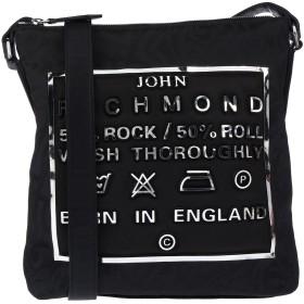《セール開催中》JOHN RICHMOND レディース メッセンジャーバッグ ブラック ポリエステル 80% / ポリウレタン 20%