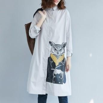 プリント ファッション 折り襟 カジュアル ルーズ 森ガール ワンピース