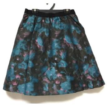 【中古】 ランバンオンブルー スカート サイズ38 M レディース 美品 ダークブラウン ブルー マルチ 花柄