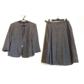 【中古】 レリアン Leilian スカートスーツ サイズ11 M レディース ダークネイビー アイボリー リボン