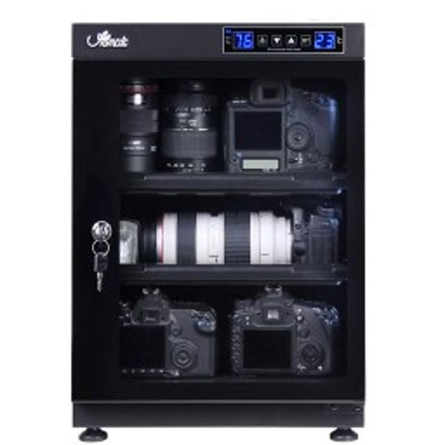 防湿庫 全自動 湿度管理 湿気対策 カメラ レンズ 保管 カギ付 LED庫内灯付 スライド式棚 高さ調節可能棚 強化ガラス 容量68L(代引不可)【