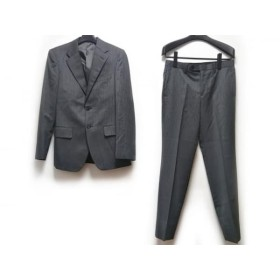 【中古】 コムサイズム COMME CA ISM シングルスーツ サイズS メンズ グレー 白 ストライプ
