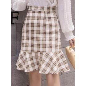 合わせやすい チェック柄 人気満々 ロング 配色 マチャプチャレ 2色 スカート