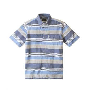U.P renoma(ユーピーレノマ)麻入りドビーマルチボーダー半袖シャツ カジュアルシャツ